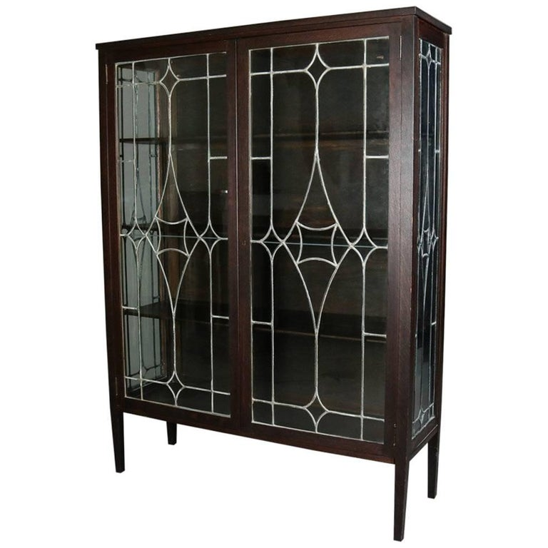 Antique Arts & Crafts Stickley School Mission Oak and Leaded Glass Bookcase For Sale