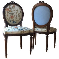 Hand-Carved 19th Century Louis XVI Style Side Chairs