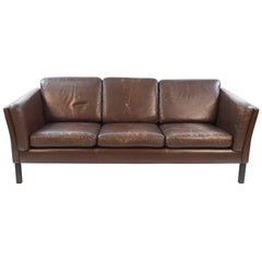 Danish Midcentury Three-Seat Sofa in Chocolate Brown Leather