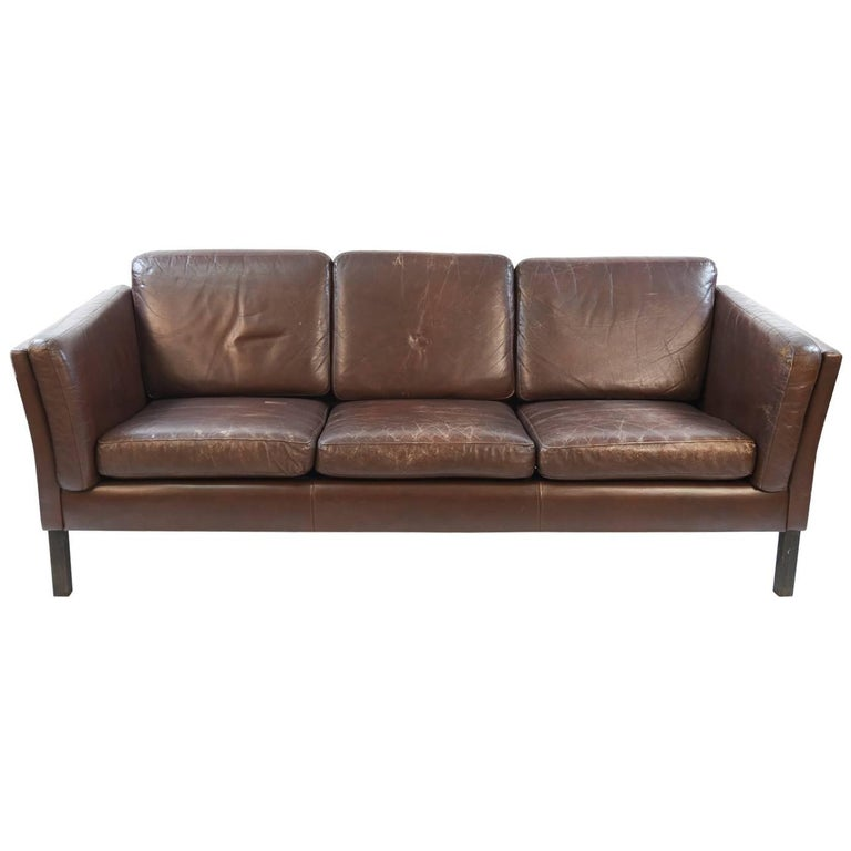 danish midcentury three seat sofa in chocolate brown leather for sale at 1stdibs. Black Bedroom Furniture Sets. Home Design Ideas