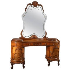 Antique French Continental Mahogany, Kingwood and Satinwood Marquetry Vanity