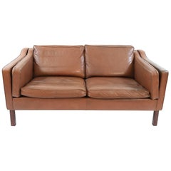 Danish Midcentury Borge Mogensen Style Leather Two-Seat Sofa or Loveseat