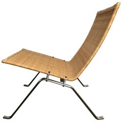 Poul Kjaerholm PK 22 Wicker and Stainless Lounge Chair