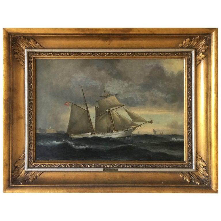 Danish Ship Portrait of Schooner 'Kaerteminde' by Christian Vigilius Blache For Sale