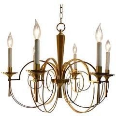 Elegant Brass Six-Light Chandelier