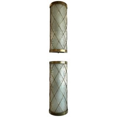 Beautiful Pair of Wall-Mounted Brass and Glass Sconces