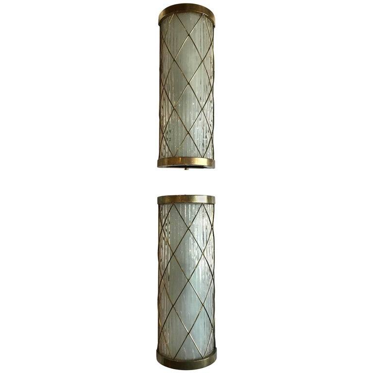 Beautiful Pair of Wall-Mounted Brass and Glass Sconces For Sale