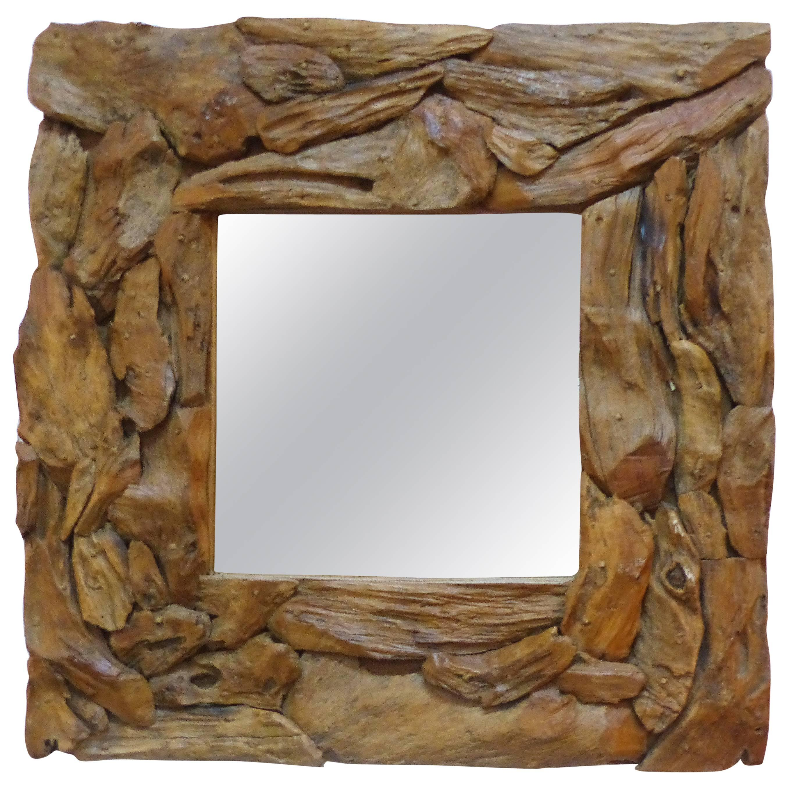 Organic Modern Driftwood Mirror For Sale at 1stdibs