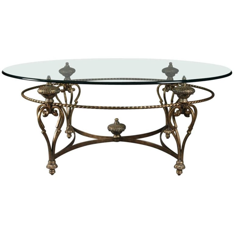 Hollywood regency italian venetian glass top gilt iron for Oval wrought iron coffee table with glass top