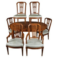 French Regency Style Henredon Furniture Dining Table with Six Chairs