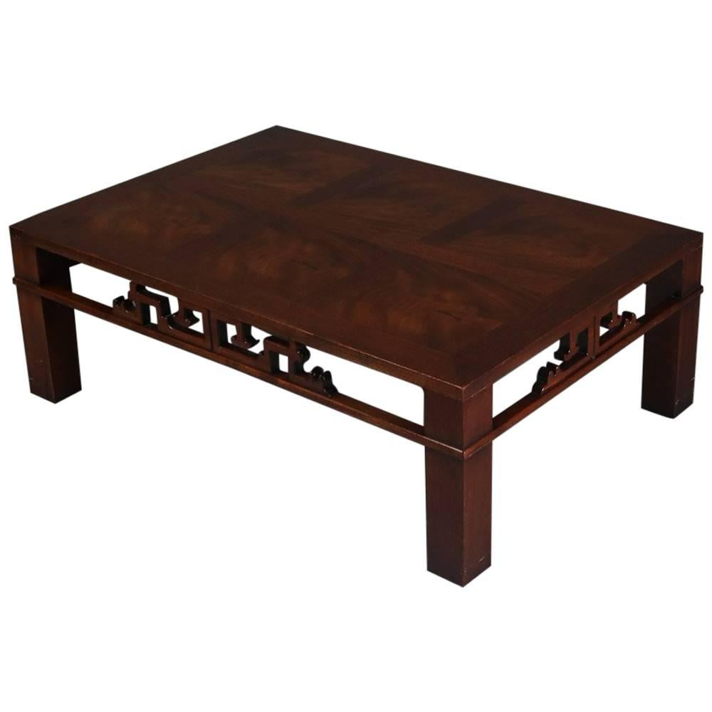 Mid Century Modern Chinese Style Mahogany Coffee Table, Heritage Henredon 1