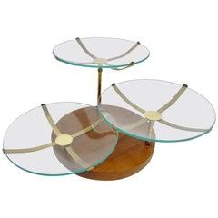 Midcentury Brass and Glass Three-Tiered Server