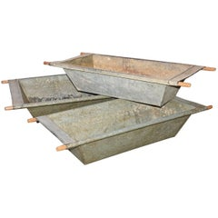Large Galvanized Iron Troughs with Wood Handles, Sold Singly