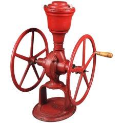 Antique Red Paint Cast Iron Metropolitan Greenhouse Countertop Coffee Grinder