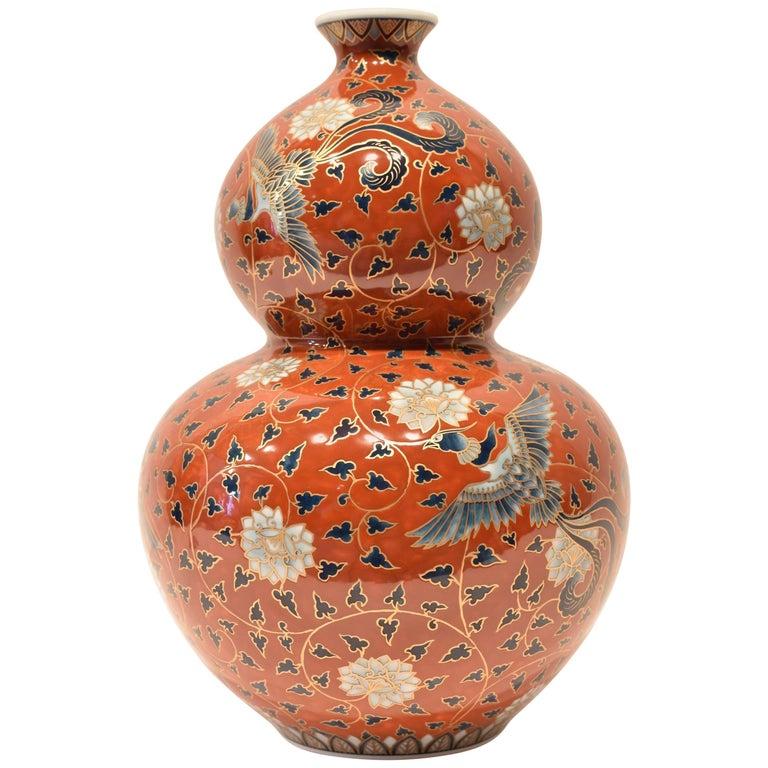 Japanese Red Imari Hand Painted Porcelain Vase By Master Artist For