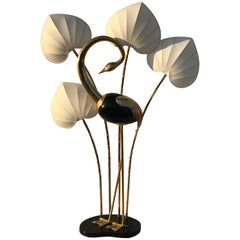 Monumental Brass Flamingo or Egret Floor Lamp by Antonio Pavia