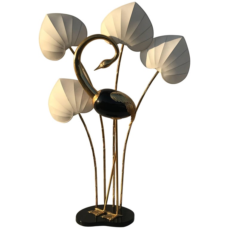 Monumental Brass Flamingo or Egret Floor Lamp by Antonio Pavia
