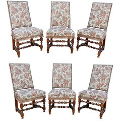 Set of Six Flemish Baroque Walnut Dining Chairs