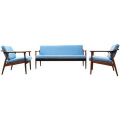 Danish Living Room Set by Torbjørn Afdal for Sandvik Mobler, 1950, Blue Teak