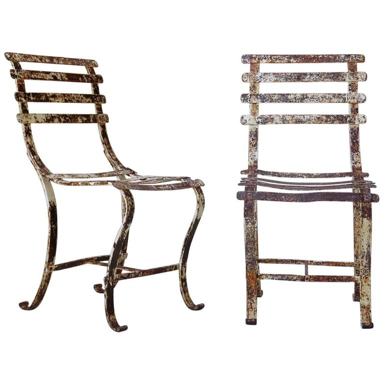 Pair of French 1920s Iron Chairs