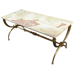 Bronze Coffee Table Attributed to Maison Jansen, Top in Onyx