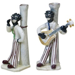 "Pair of Porcelain ""Jazz Era"" Candlesticks, France, circa 1950s"