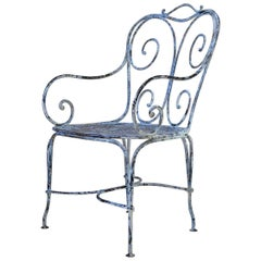 Large Wrought Iron Chair, France, circa 1900