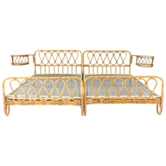 Mid-Century Modern Rattan Twin Beds with Rotating Bedside Tables, 1950s