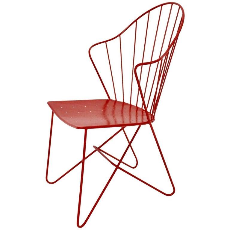 Red Astoria Vintage Side Chair by J.O.Wladar and V. Moedlhammer  Sonett c 1955 For Sale