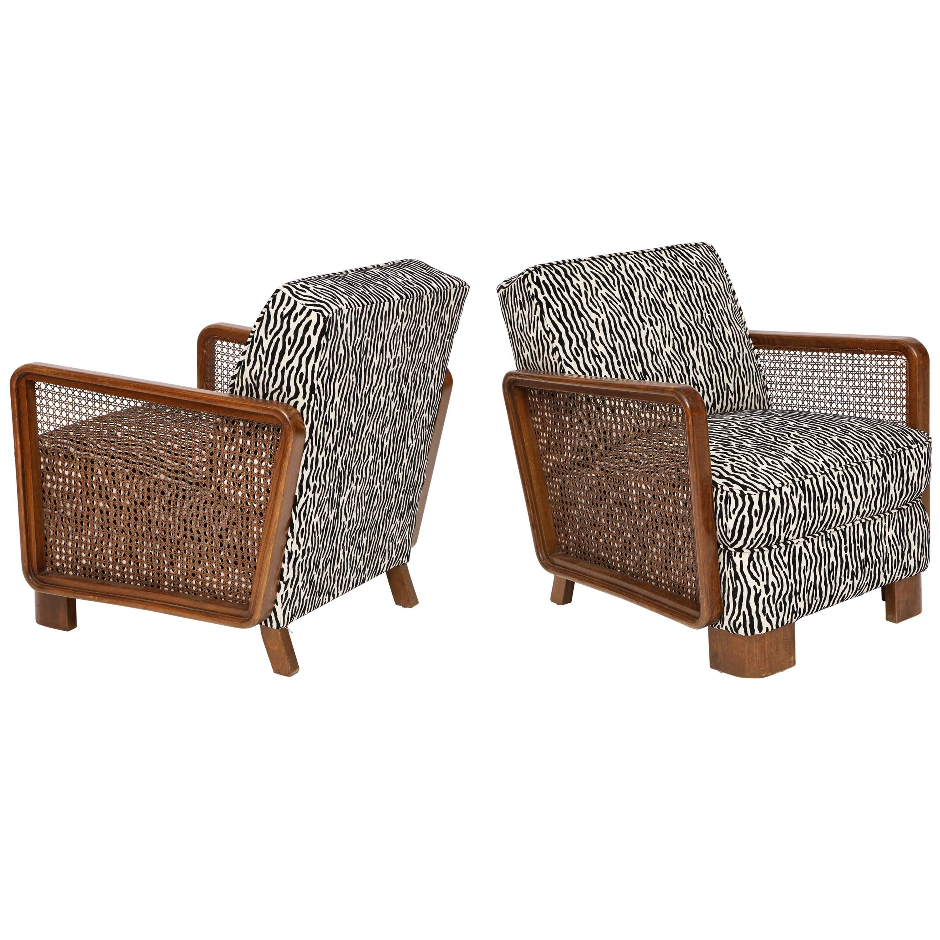 Pair Of Deco Cane Lounge Chairs Black And White Animal Print France 1940s At 1stdibs