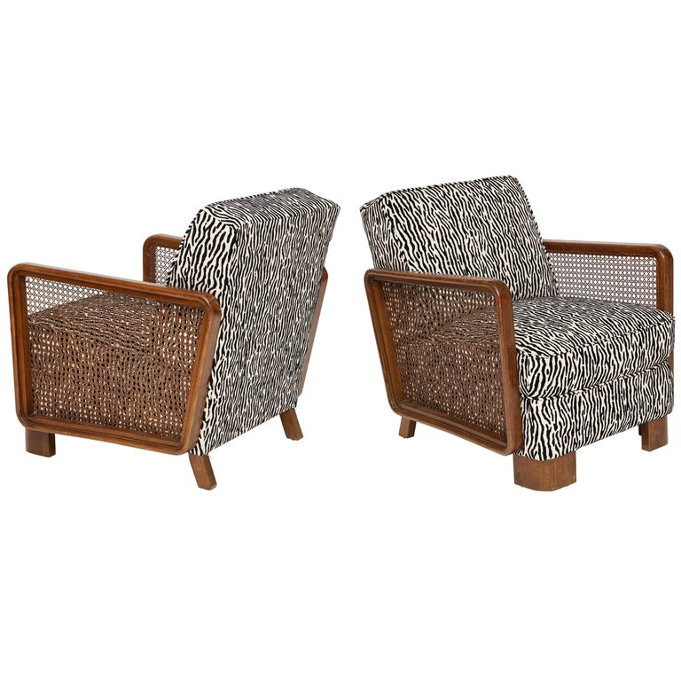 Pair of Deco Cane Lounge Chairs Black and White Animal Print, France, 1940s