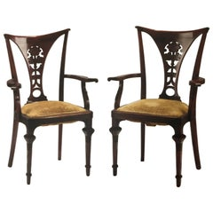 Thonet  bentwood Exceptional Rare Armchairs 1911-1915 Stamped Mahogany Colored