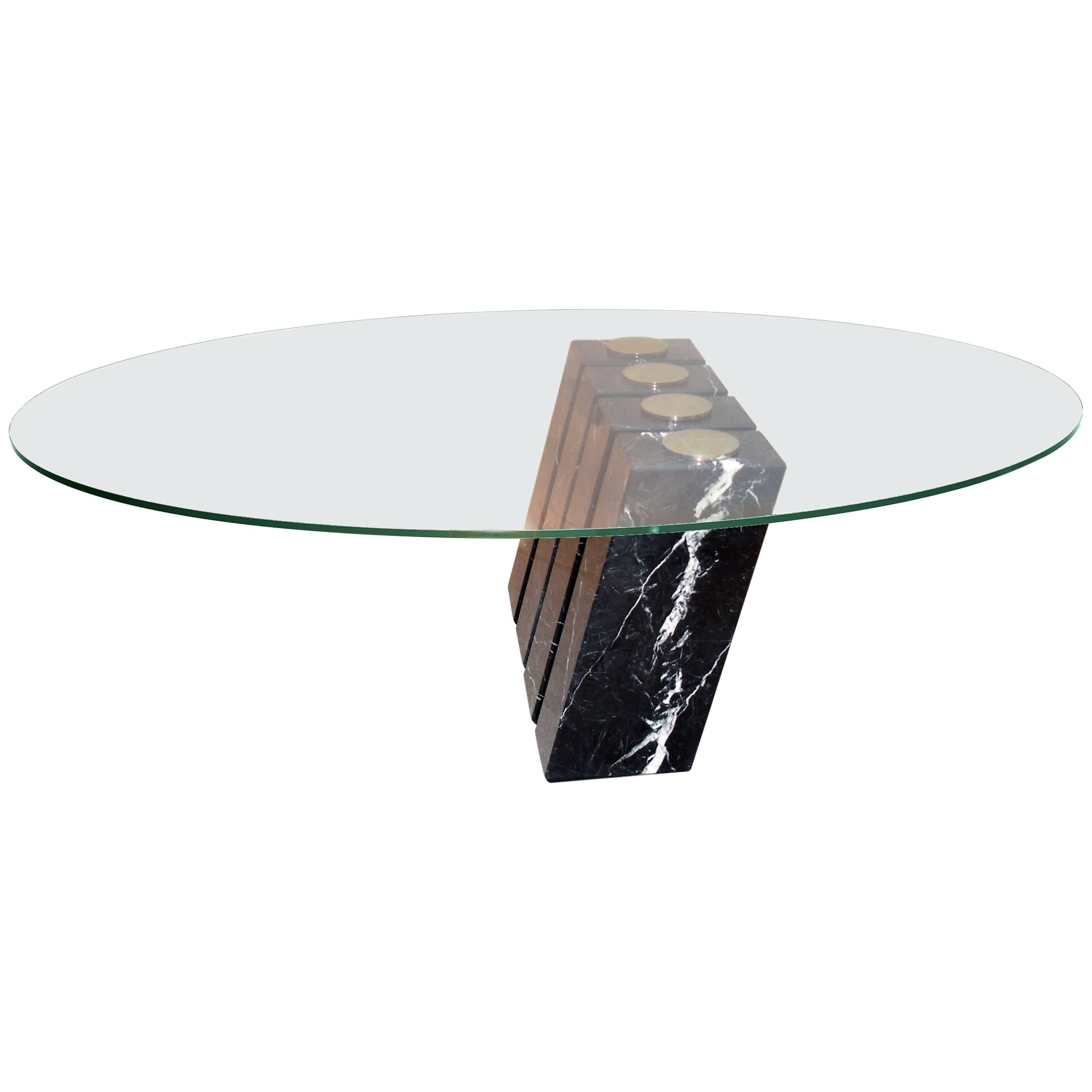 Marble, Glass And Steel Table U0027Etheru0027 N°1/8 By Vincent
