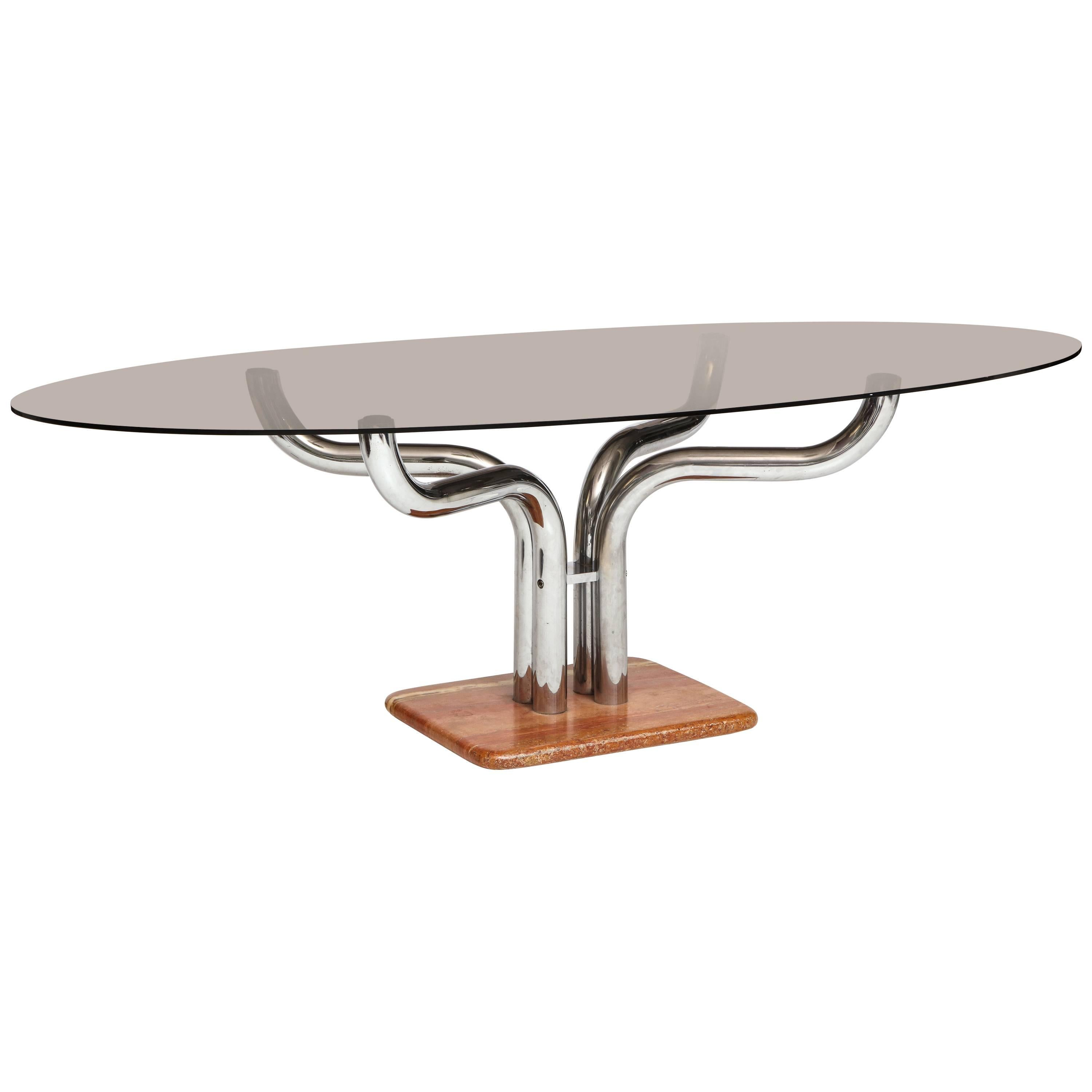 Beautiful Dining Table Rose Marble Base and Chrome Architectural Arms, Italy