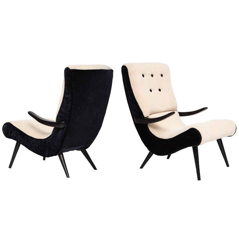 Pair of Sculptural Lounge Chairs with Black White Mohair Fabric, 1950s 1