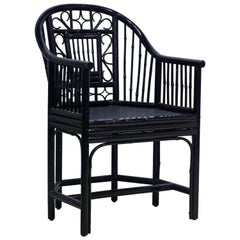 Black Chippendale Chinoiserie Brighton Pavilion Style Bamboo Rattan Armchair
