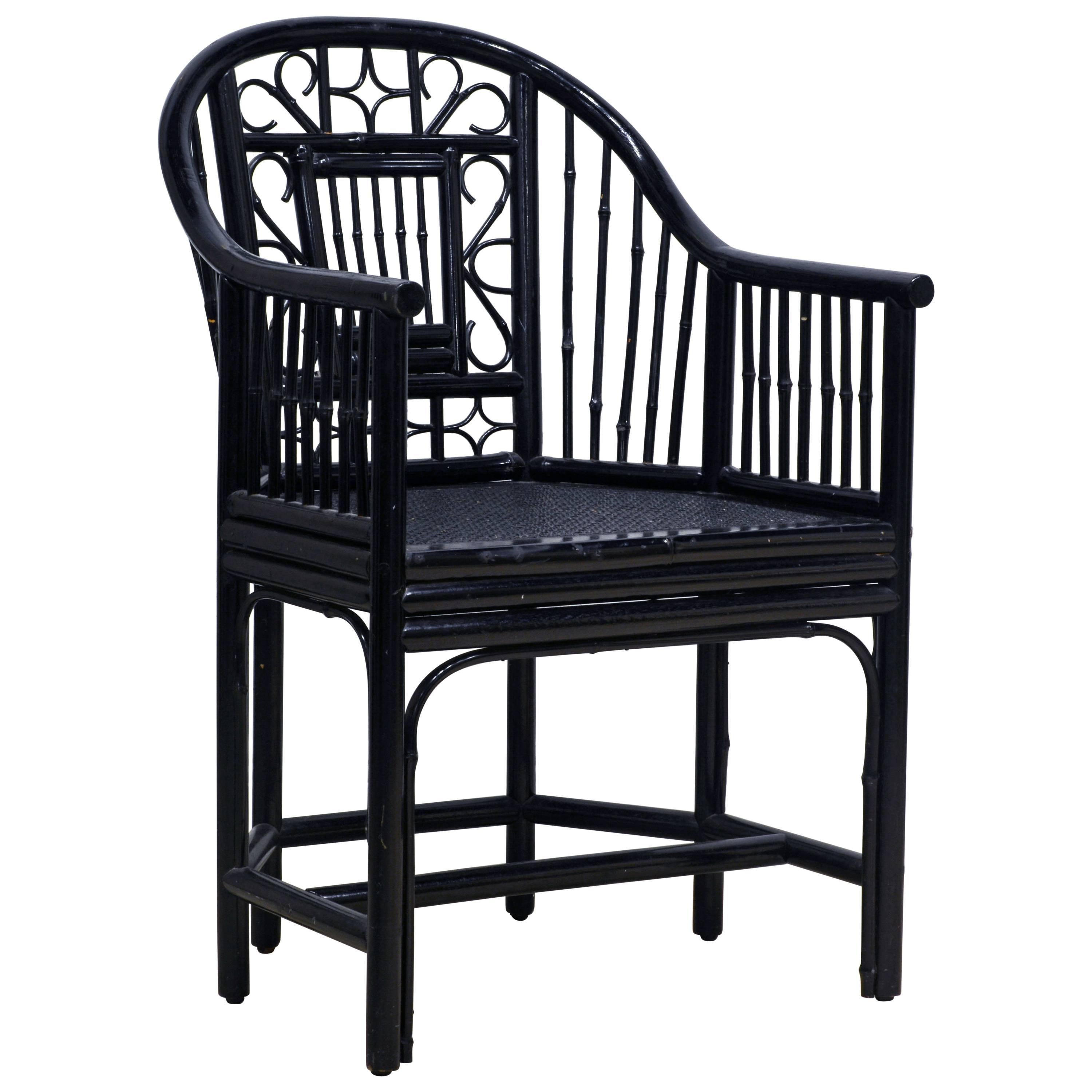 Black Chippendale Chinoiserie Brighton Pavilion Style Bamboo Rattan Armchair  For Sale