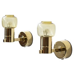 Hans-Agne Jakobsson Pair of Wall Lamps, Brass and Glass, Sweden, 1960s