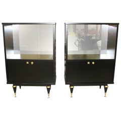 Pair of French Art Deco Tall Sideboard / Cabinets Ebonized, circa 1940s