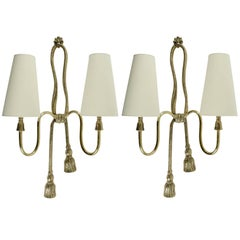 1950s Large Pair of Valenti Sconces Brass