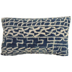 African Blue and Natural Ndop Artisanal Textile Bolster Decorative Pillow