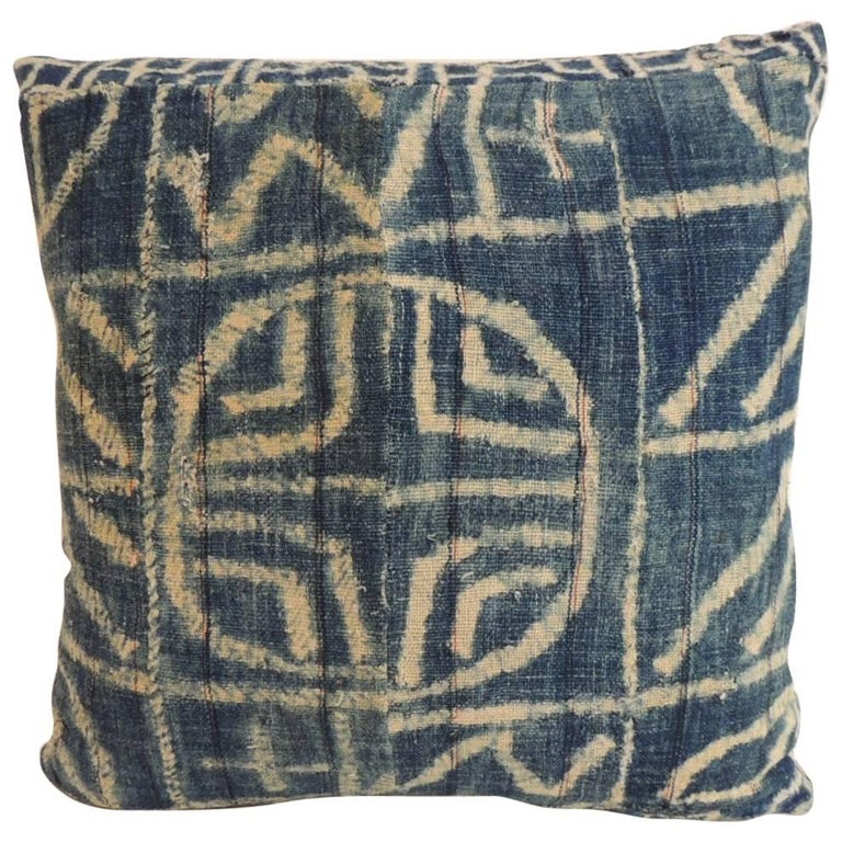 African Blue and Natural Ndop ArtisanalTextile Square Decorative Pillow For Sale at 1stdibs