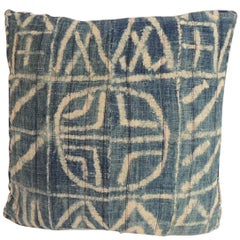 African Blue and Natural Ndop Textile Square Decorative Pillow