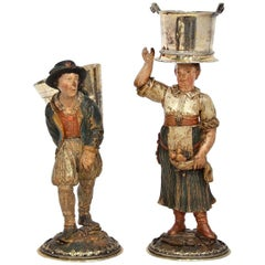 Rare Pair of Late 18th-Early 19th Century Italian Carved and Painted Figures