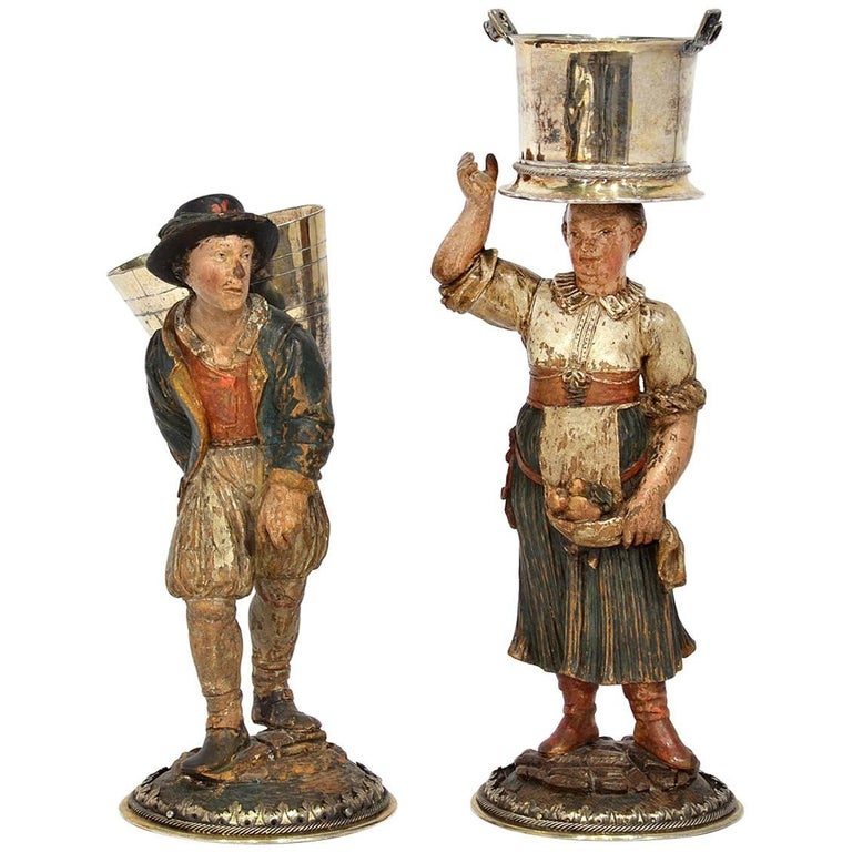 Rare Pair of Late 18th-Early 19th Century Italian Carved and Painted Figures 1