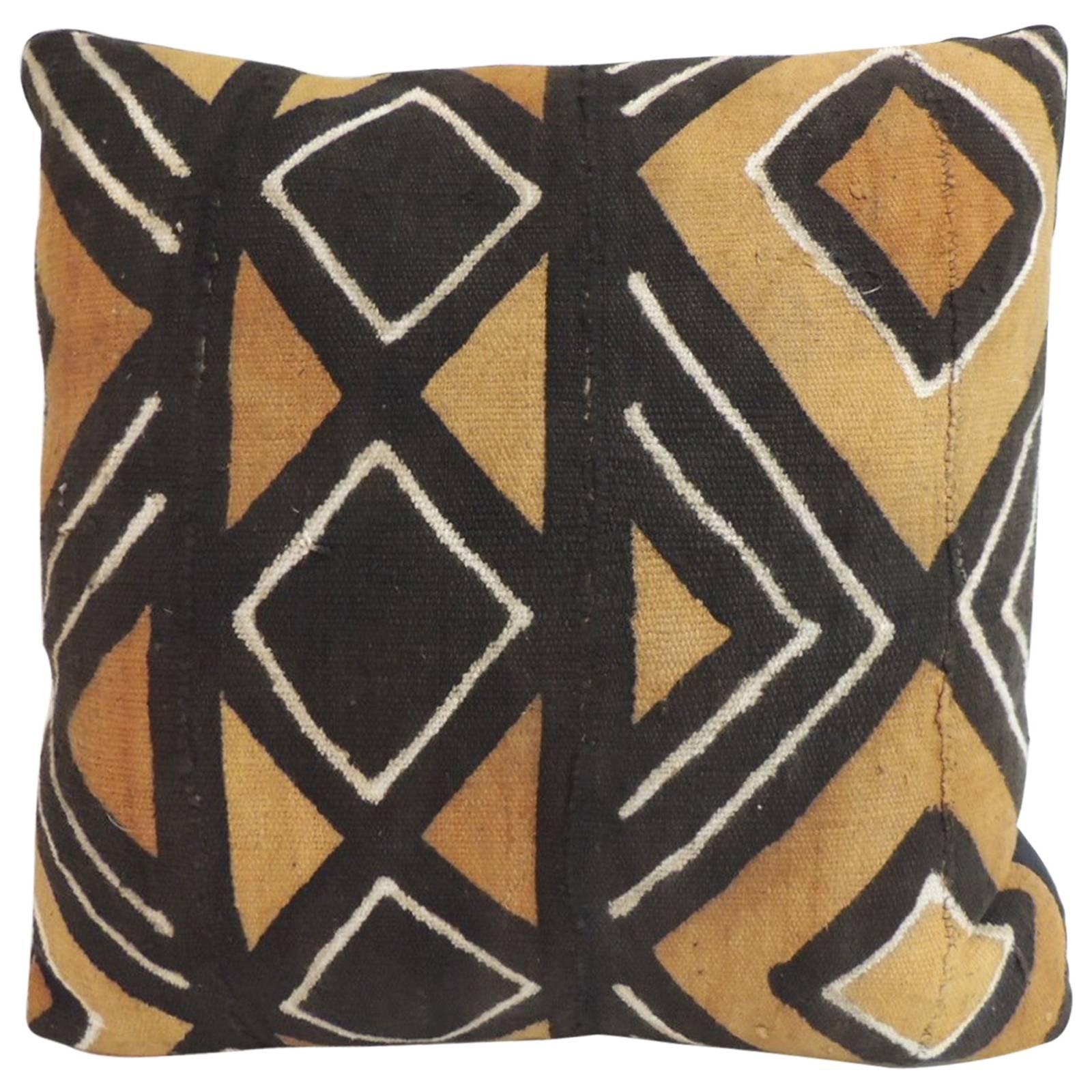 vintage graphic african artisanal textile mud cloth decorative pillow