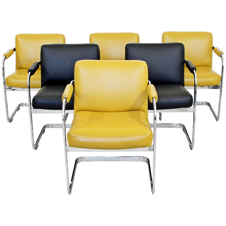 Mid-Century Modern Milo Baughman Set of Six Chrome Cantilever Dining Chairs