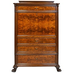 Early 19th Century Scandinavian Empire Fall-Front Secretary in Mahogany, c. 1825