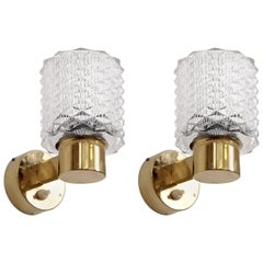 Pair of Brass Wall Lights, Sweden, 1960s