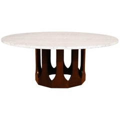Harvey Probber Travertine Top Cocktail Table